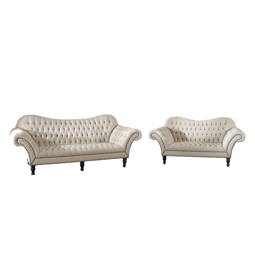 Baxton Studio Bostwick Beige Linen Classic Victorian Sofa Set    IETSF 7202 Beige Set ...