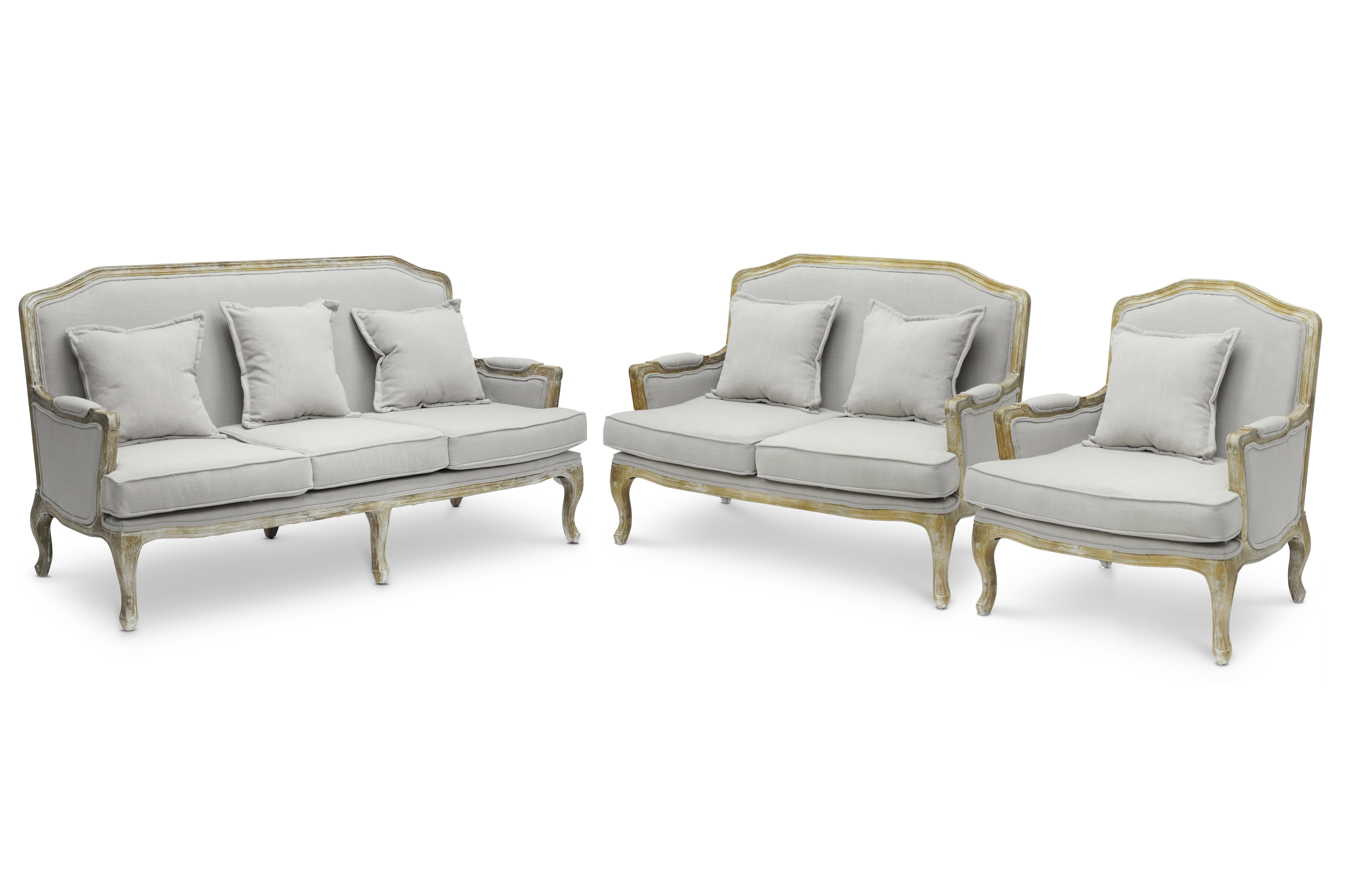 Baxton Studio Constanza Classic Antiqued French Sofa Set   IETA2256 Beige 3PC  Set ...