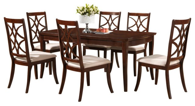 Glenview brown wood 7 piece modern dining set interior for 7 piece dining room sets under 1000