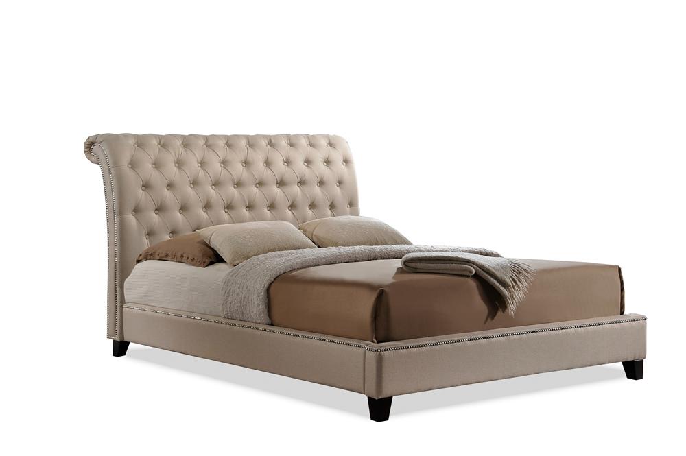 Baxton Studio Jazmin Tufted Light Beige Modern Bed With Upholstered Headboard King Size