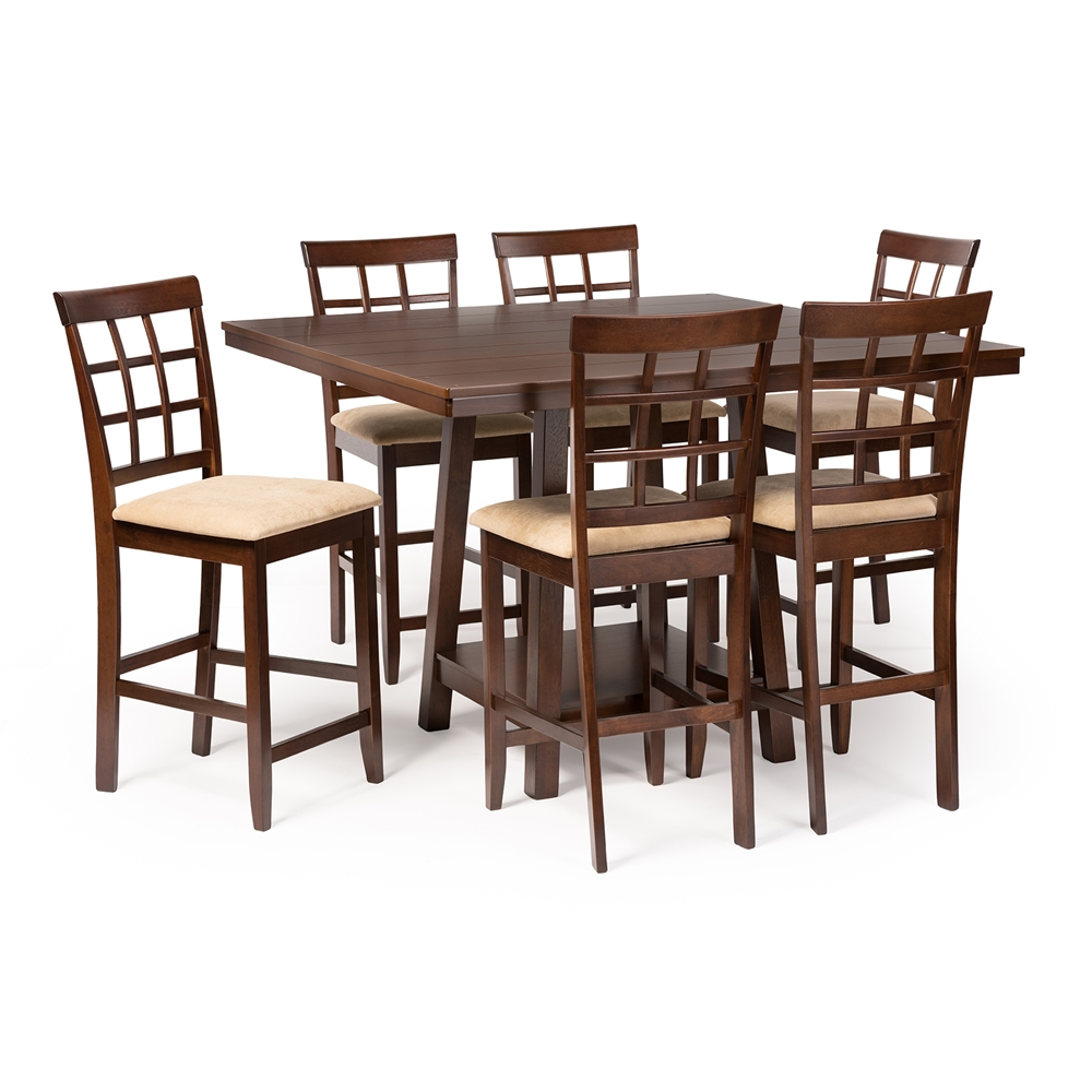 Baxton studio katelyn modern pub table set 7 piece for 7 piece dining room sets under 1000