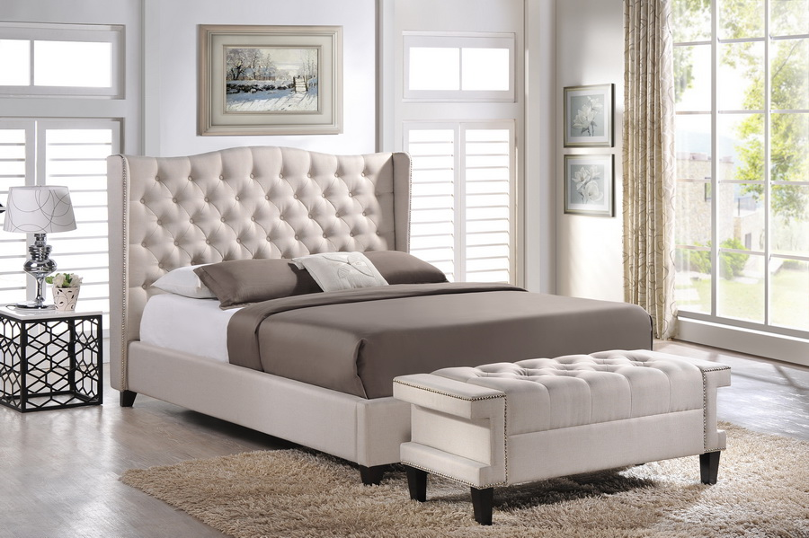 Baxton Studio Norwich Light Beige Linen Modern Bedroom Set - Queen Size