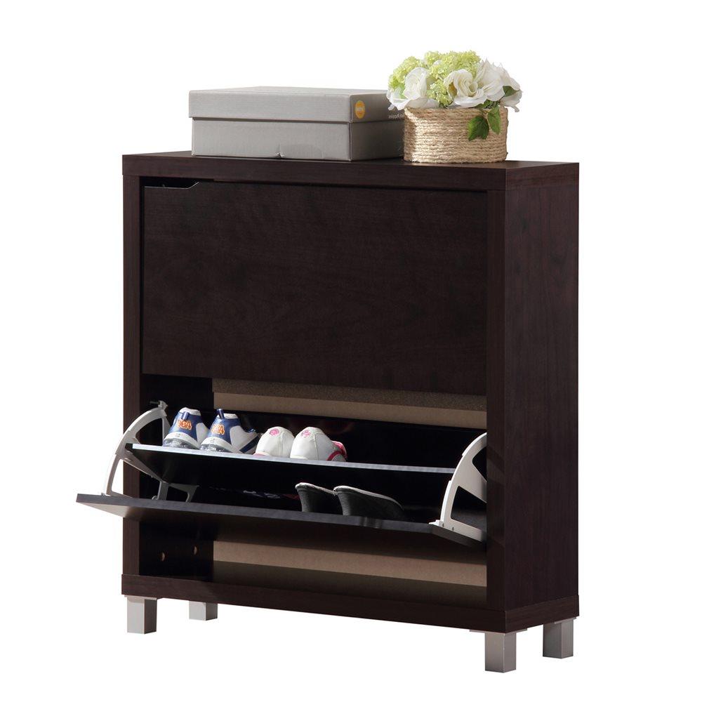 Simms Modern Shoe Cabinet In Dark Brown