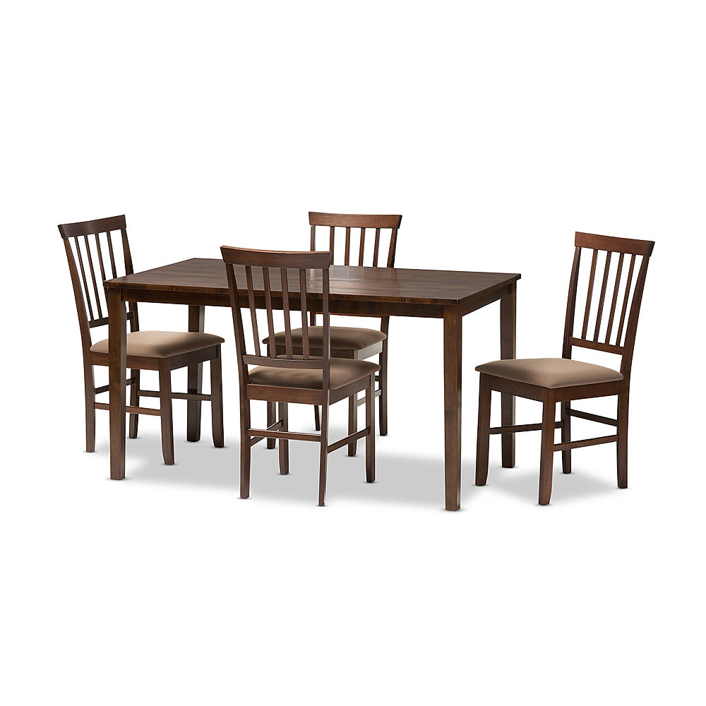 Baxton Studio Tiffany 5 Piece Modern Dining Set In Espresso Brown Wood
