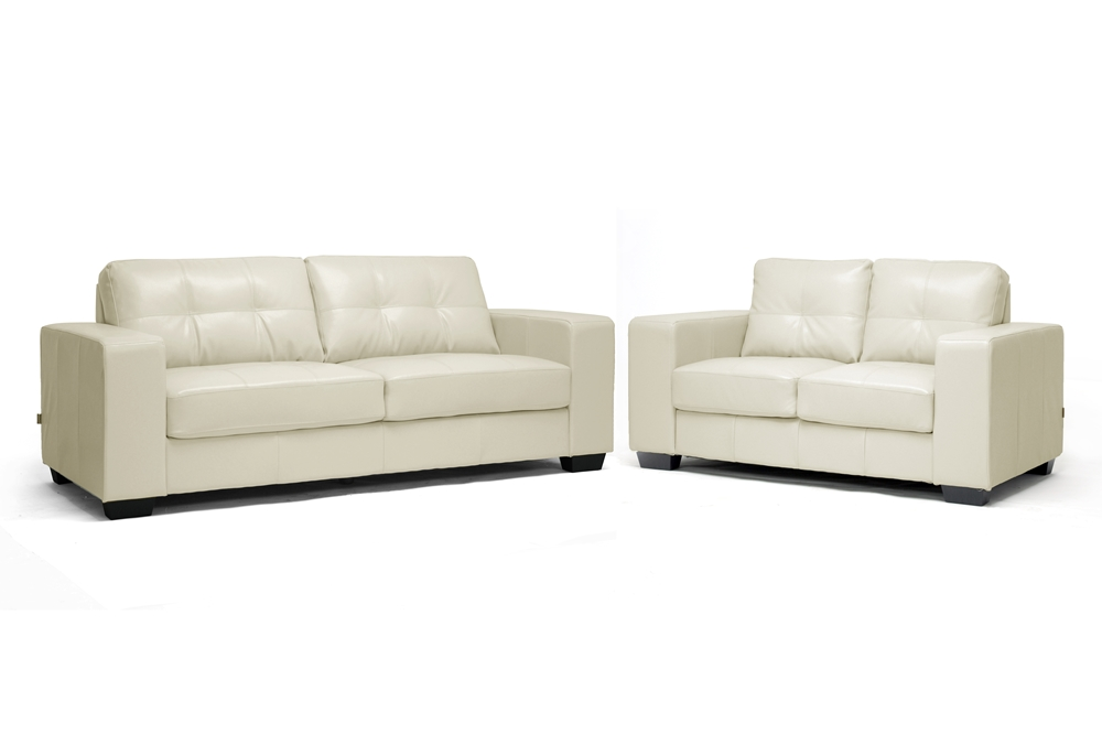 Whitney Ivory Leather Modern Sofa Set Interior Express