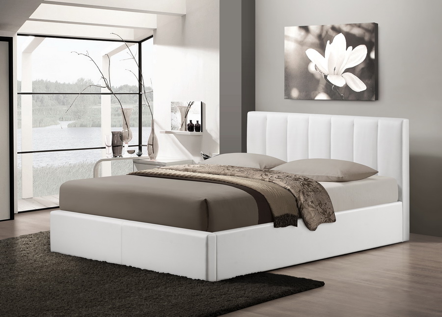 baxton studiotemplemore white leather contemporary queen