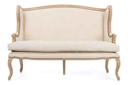 Baxton Studio Beuvron Wood & Light Beige Linen Traditional French Loveseat Baxton StudioBeuvron Wood &  Light Beige Linen Traditional French Loveseat, FurnitureLiving Room Furniture
