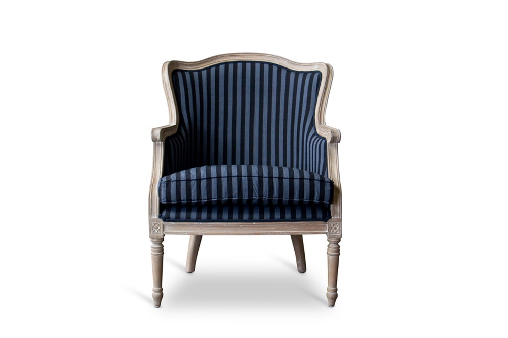 Grey And White Striped Accent Chair: Baxton Studio Charlemagne Traditional French Accent Chair