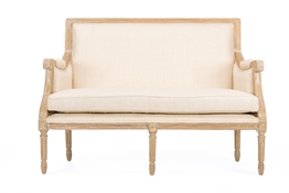 Baxton Studio Chavanon Wood & Light Beige Linen Traditional French Loveseat Baxton StudioChavanon Wood &  Light Beige Linen Traditional French Loveseat, FurnitureLiving Room Furniture