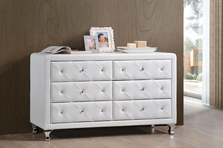 . Baxton Studio Luminescence Wood Contemporary White Upholstered Dresser