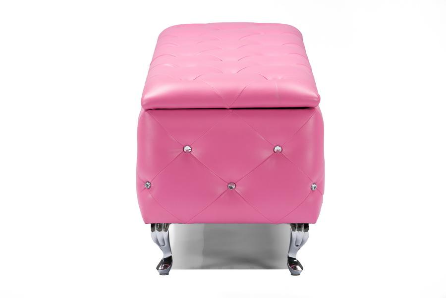 ... Baxton Studio Seine Pink Leather Contemporary Storage Ottoman -  IEBBT3112-Pink-Storage Bench ... - Baxton StudioSeine Pink Leather Contemporary Storage Ottoman