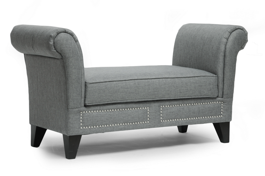 Marsha Gray Linen Modern Scroll Arm Bench Interior Express