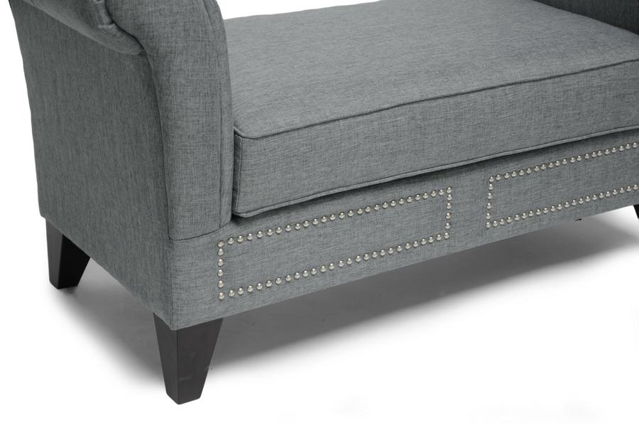Scroll Bench Part - 28: ... Baxton Studio Marsha Gray Linen Modern Scroll Arm Bench -  IEBBT5120-Grey-Bench