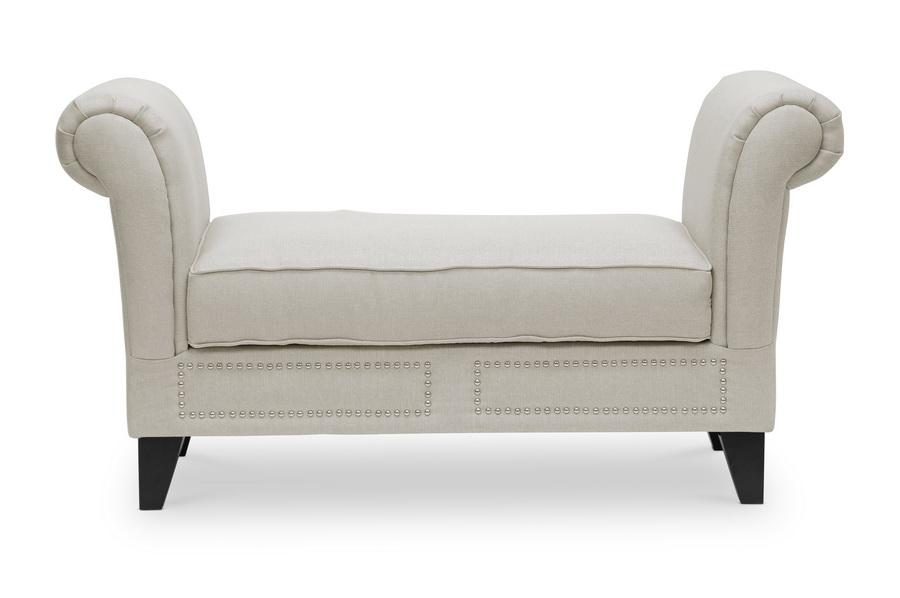 Marsha Light Beige Linen Modern Scroll Arm Bench Interior Express