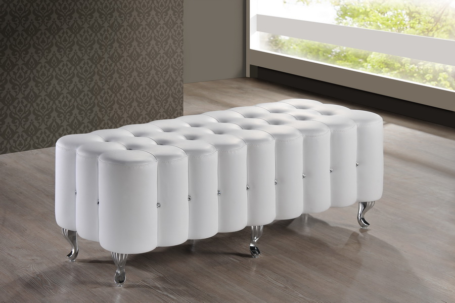 baxton studio constellations white modern bedroom bench