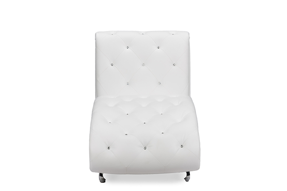 Astounding Baxton Studio Pease Contemporary White Faux Leather Upholstered Crystal Button Tufted Chaise Lounge Cjindustries Chair Design For Home Cjindustriesco