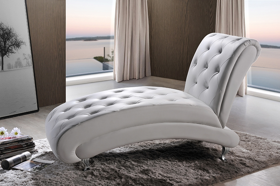 ... Baxton Studio Pease Contemporary White Faux Leather Upholstered Crystal  Button Tufted Chaise Lounge   IEBBT5187
