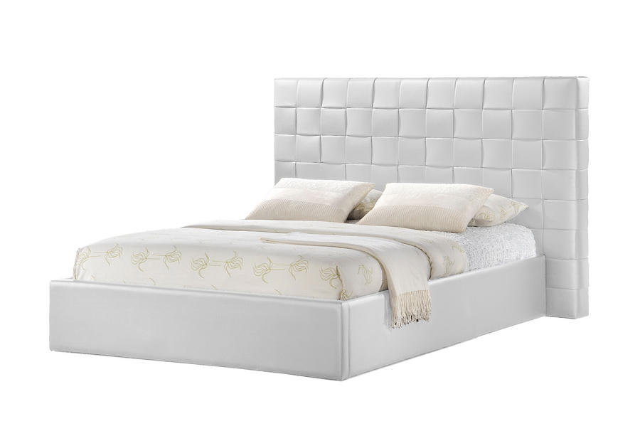 baxton studio prenetta white modern bed with upholstered headboard queen size