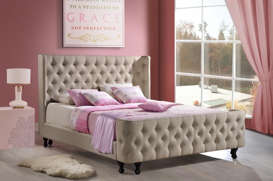 Baxton Studio Francesca Beige Linen Modern Bedroom Set - King Size ...