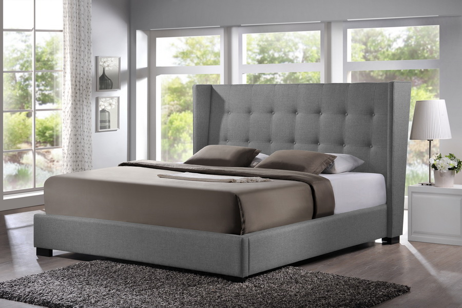 Baxton Studio Favela Gray Linen Modern Bed with Upholstered