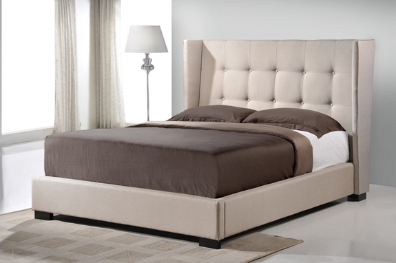 Baxton Studio Favela Beige Linen Modern Bed With