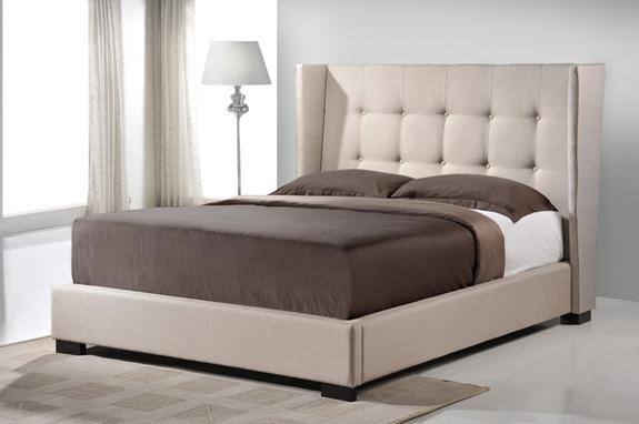 Baxton Studio Favela Beige Linen Modern Bed With Upholstered Headboard King Size Interior