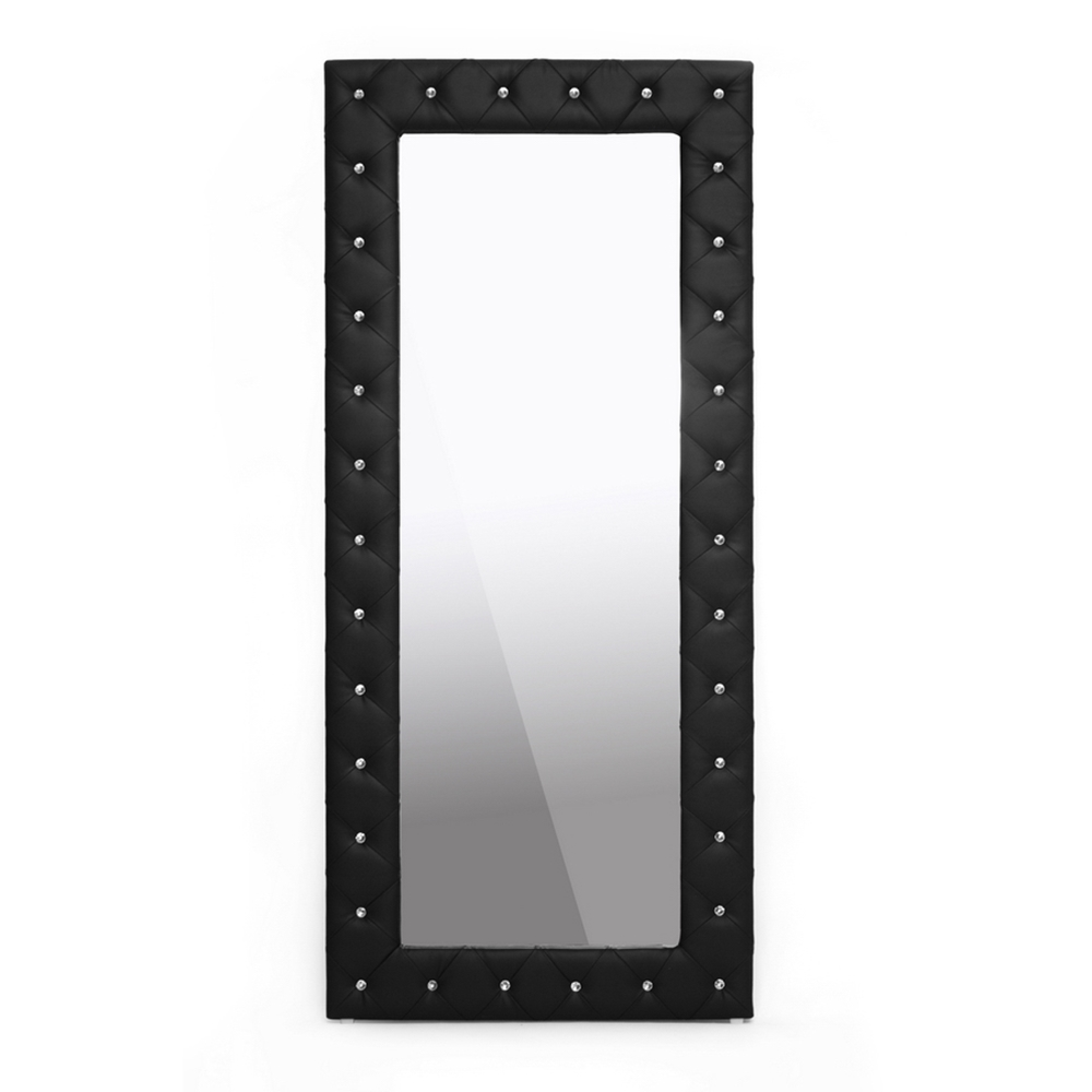Stella Crystal Tufted Black Modern Floor Mirror | Interior Express