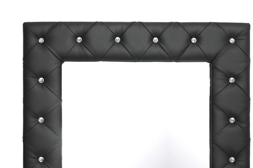Stella Crystal Tufted Black Modern Floor Mirror Interior