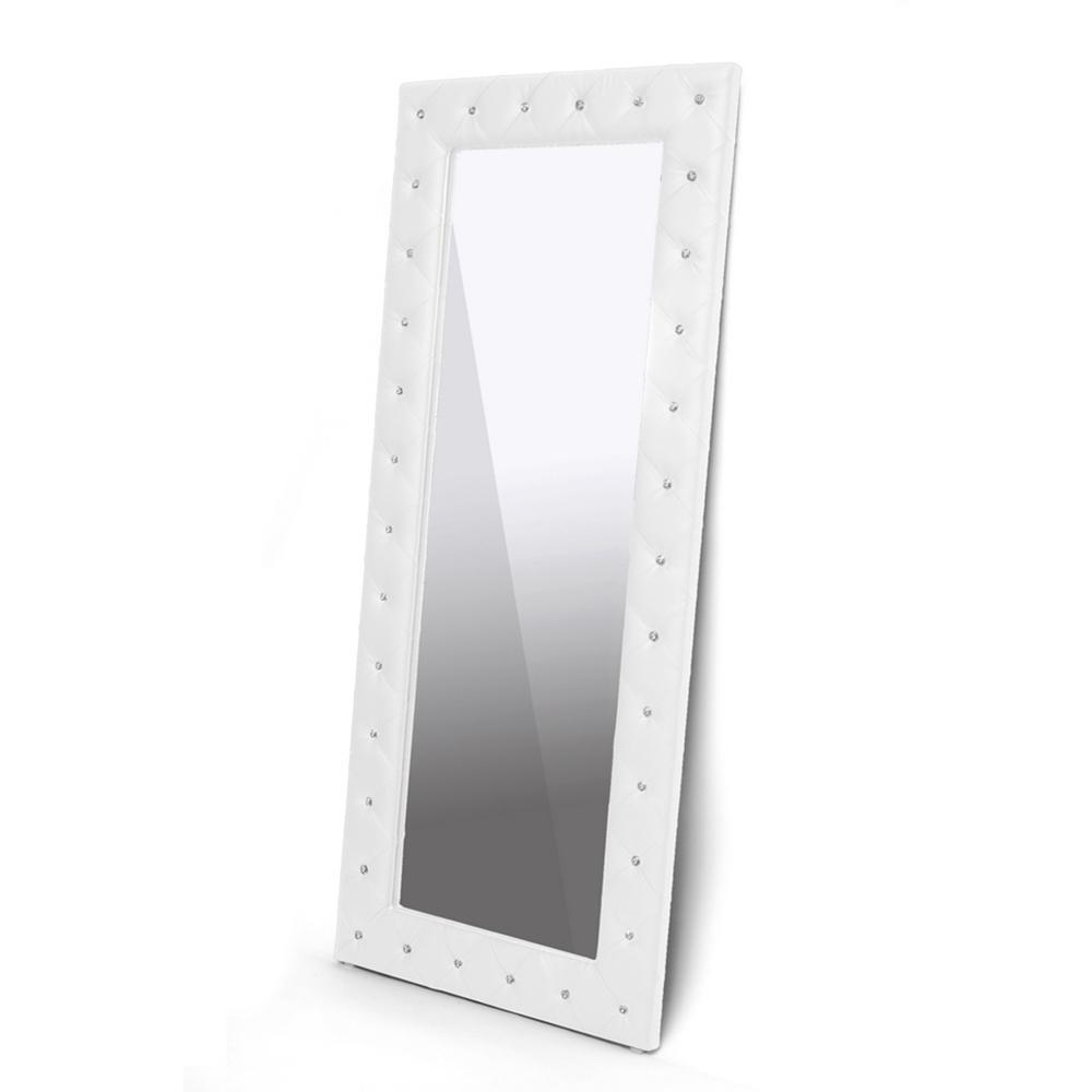 Baxton Studio Stella Crystal Tufted White Modern Floor Mirror Iebbtm27