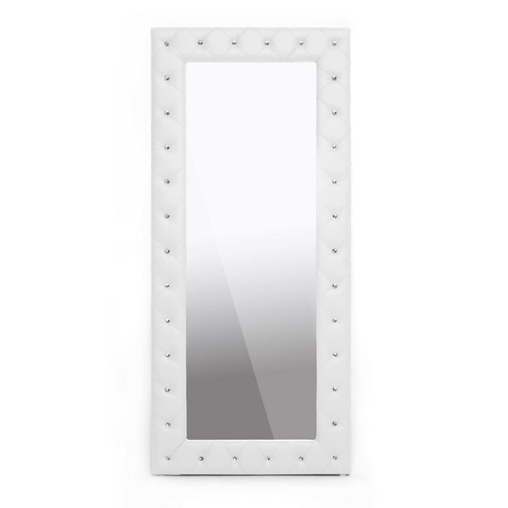 Stella Crystal Tufted White Modern Floor Mirror Interior