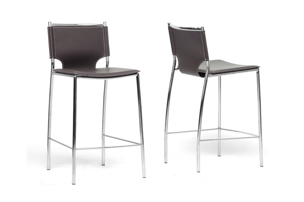 Phenomenal Baxton Studio Montclare Brown Leather Modern Counter Stool Set Of 2 Pdpeps Interior Chair Design Pdpepsorg