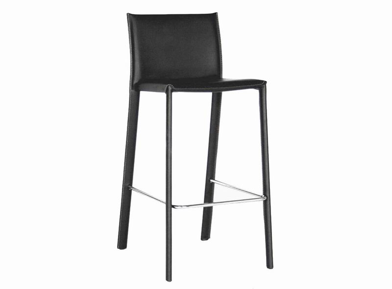 Crawford Black Leather Counter Height 24 Bar Stool Set Of 2