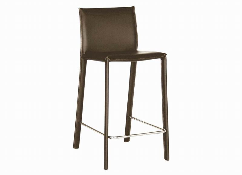 Crawford Brown Leather Counter Height 24 Bar Stool Set Of