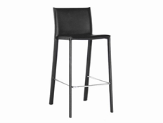 Barstool-Crawford Black Leather  Set of 2