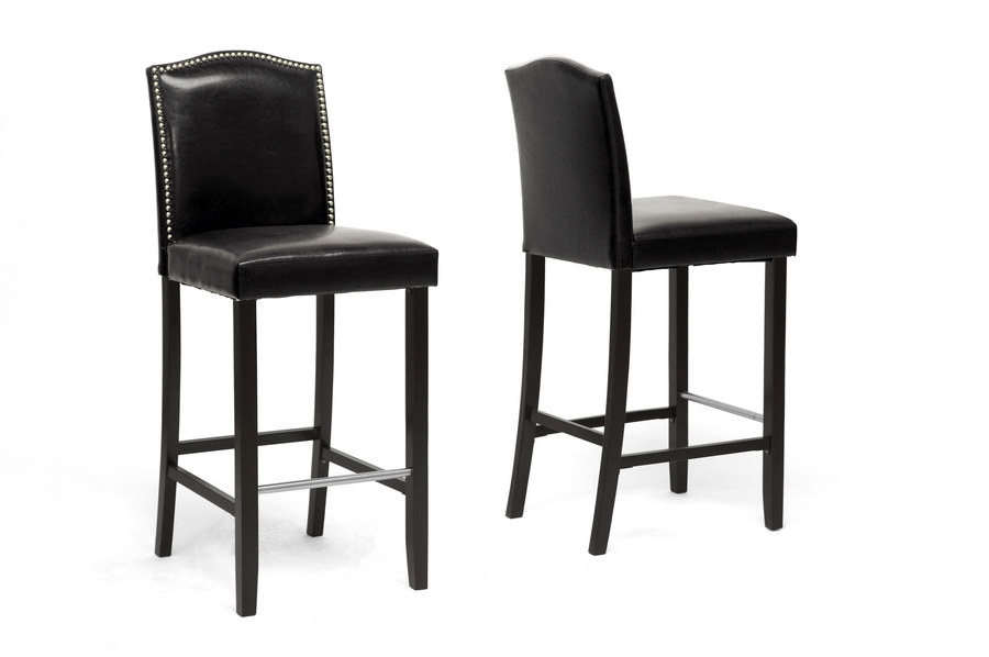 Libra Black Modern Bar Stool With Nail Head Trim