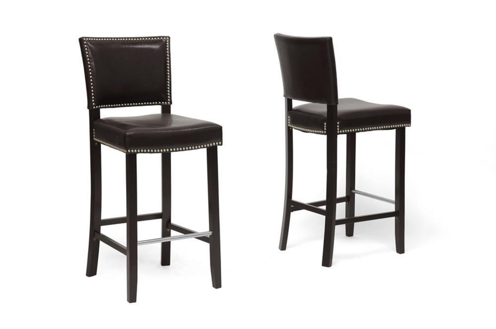 Admirable Baxton Studio Aries Dark Brown Modern Bar Stool With Nail Head Trim Ncnpc Chair Design For Home Ncnpcorg