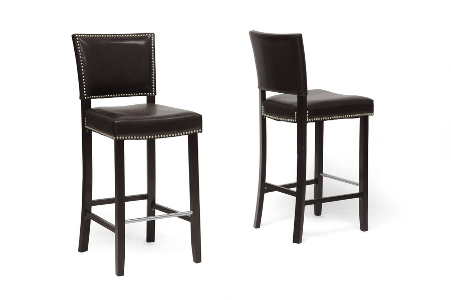 Baxton Studio Aries Dark Brown Modern Bar Stool with Nail Head Trim - IEBBT5112 Bar Stool ...  sc 1 st  Interior Express : black and wood bar stools - islam-shia.org