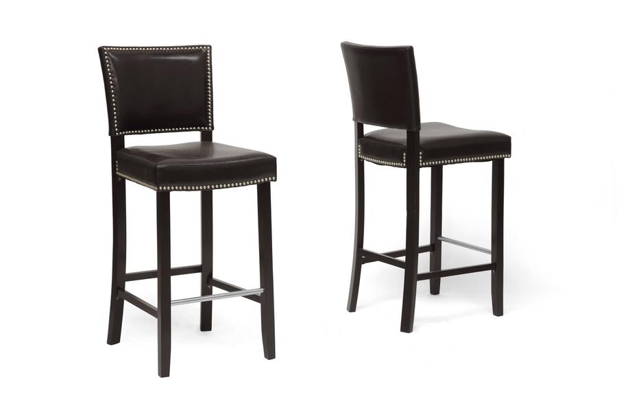 baxton studio aries dark brown modern bar stool with nail head trim iebbt5112 bar stool - Modern Counter Stools