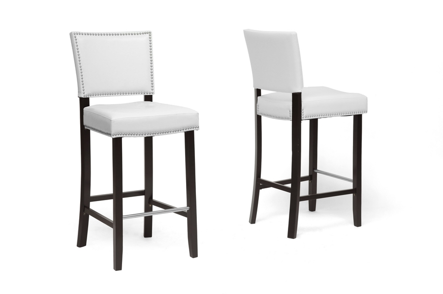 Baxton Studio Aries White Modern Bar Stool With Nail Head Trim