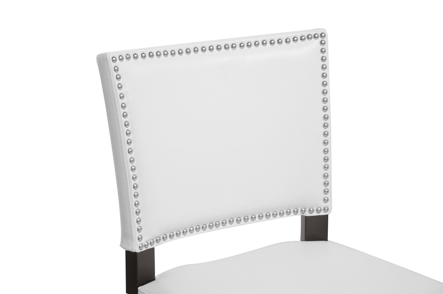 Aries White Modern Bar Stool With Nail Head Trim
