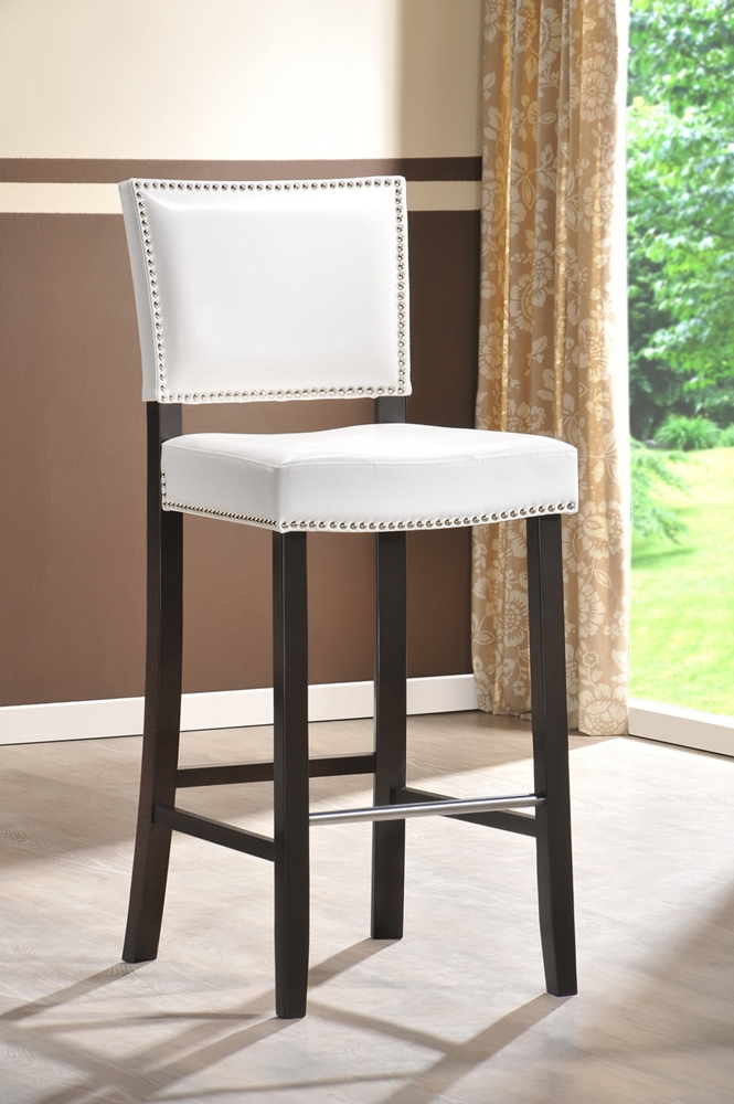 Pair Bed Stools: Aries White Modern Bar Stool With Nail Head Trim