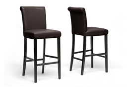 Baxton Studio Bianca Brown Modern Bar Stool (Set of 2) Baxton Studio Bianca Brown Modern Bar Stool (Set of 2), BSY-303-001-Dark Brown (2)
