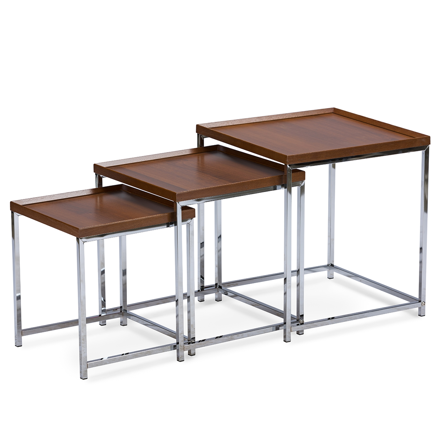 ... Baxton Studio Adelina 3 Piece Wood Top Chrome Base Nesting Table Set    IEAking  ...