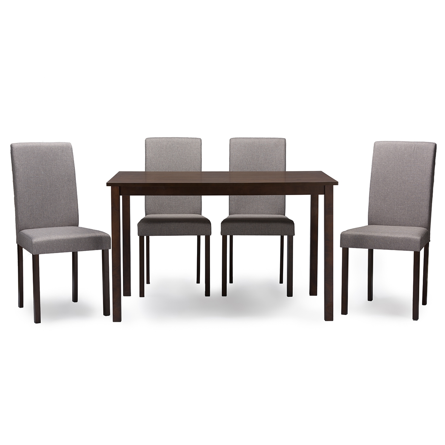 Baxton Studio Andrew Contemporary Espresso Wood Grey Fabric 5PC Dining Set    IEAndrew 5 PC Dining ...