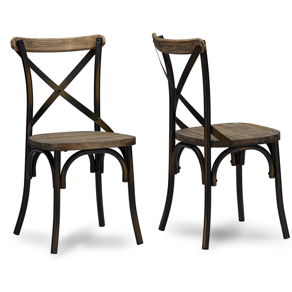 Baxton Studio Konstanze Industrial Walnut Wood And Metal Dining Chair In Antique Cooper Finishing