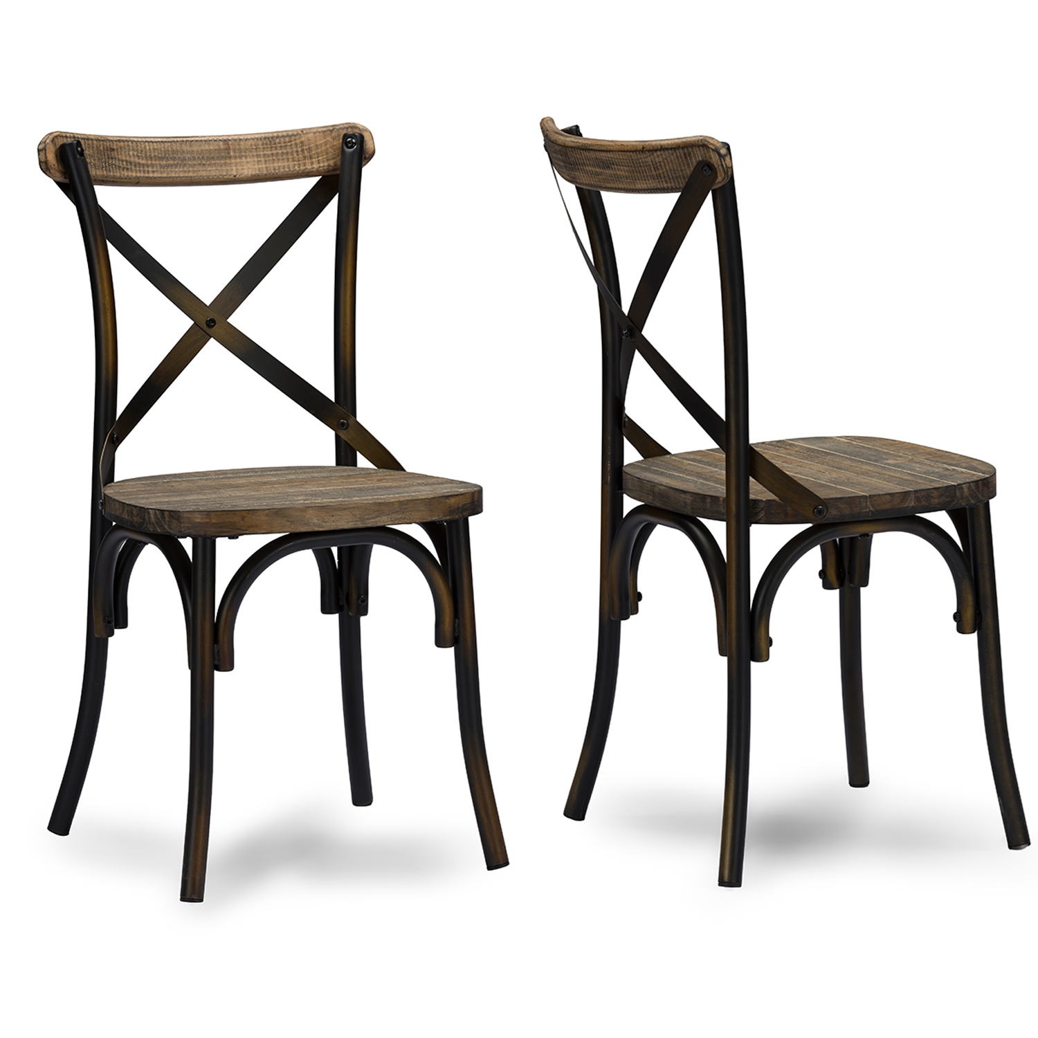 Baxton Studio Konstanze Industrial Walnut Wood And Metal Dining Chair In  Antique Cooper Finishing   IEM ...