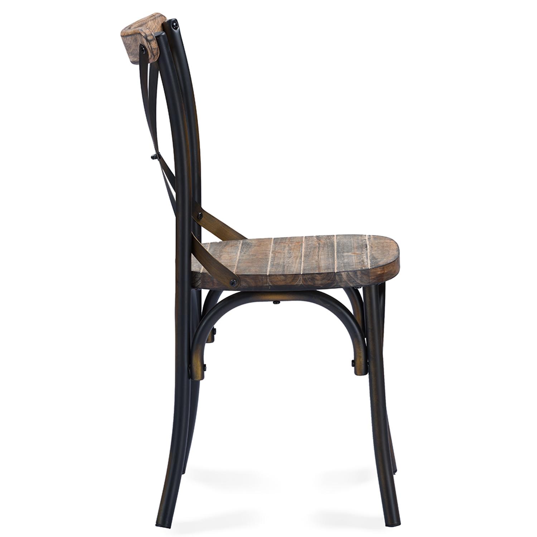 baxton studio konstanze industrial walnut wood and metal dining chair in antique cooper finishing iem