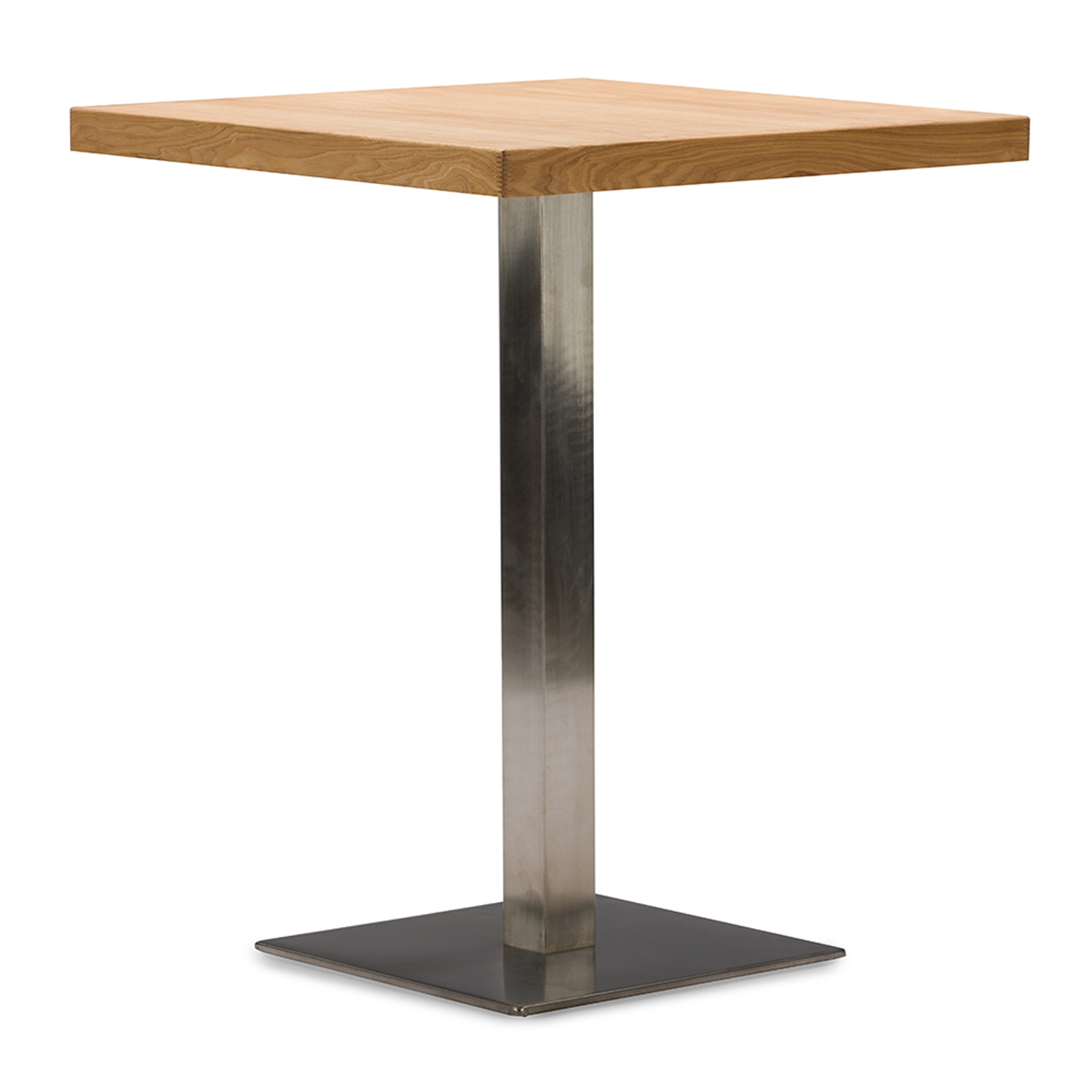 Beau ... Baxton Studio Owen 24 Inch Square Natural Top Bistro Table With Chrome  Base   IEM ...