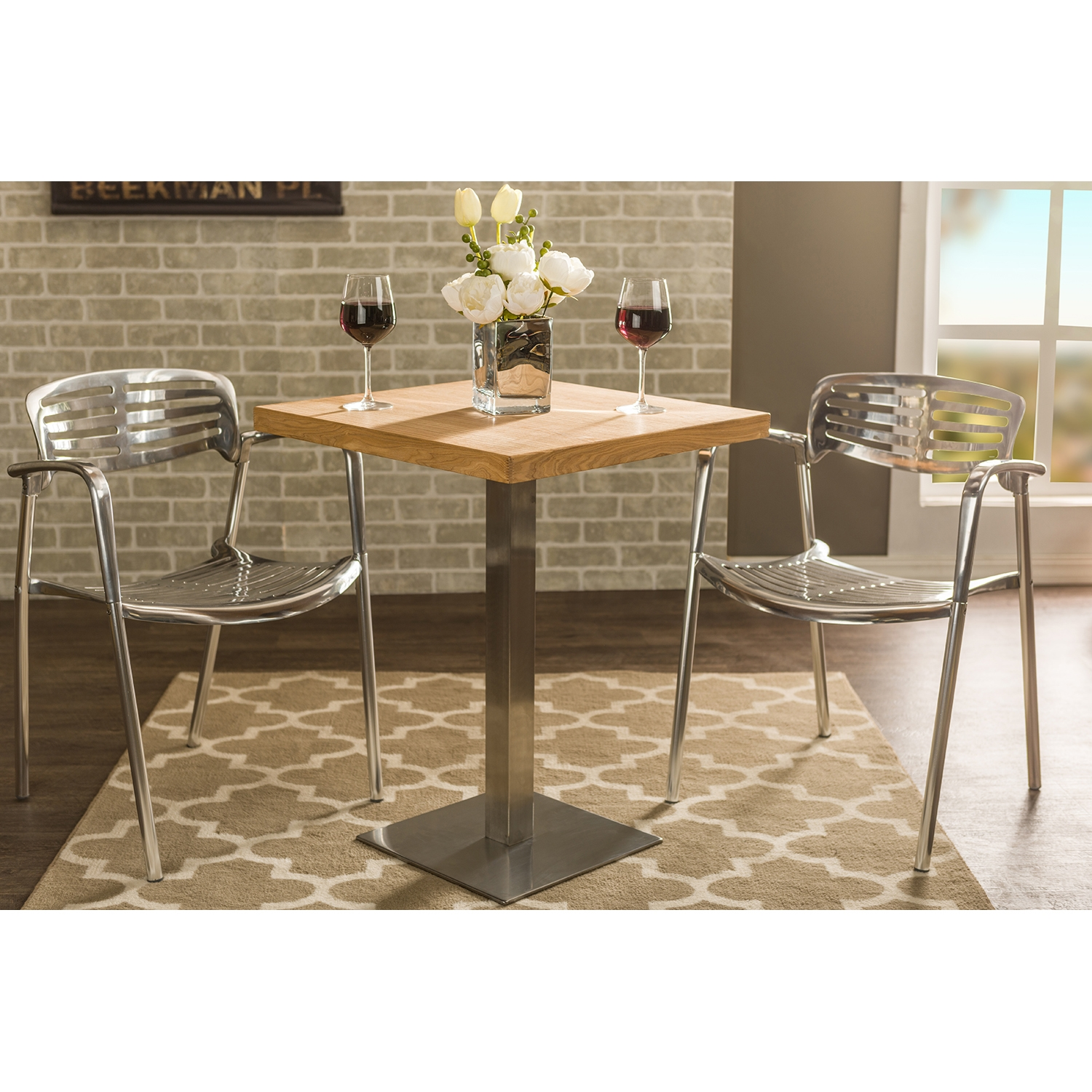 ... Baxton Studio Owen 24 Inch Square Natural Top Bistro Table With Chrome  Base   IEM