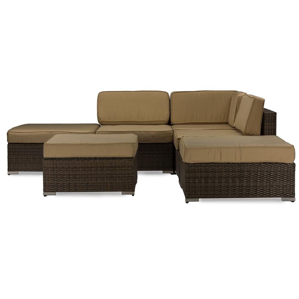 Baxton studio owen brown wicker and tan linen lawn for Tan sofa set